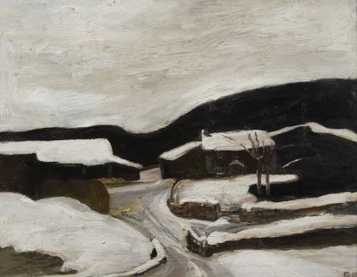 Sheila Fell 1931-1979 Heavy Snow II, 1979 oil on canvas 28 by 36 inches  Loaned from a Private Collection, image © Anna Fell