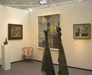Foreground: F.E.McWilliam. Background, left to right: Reg Butler, David Bomberg, Alan Davie and Terry Frost