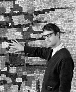 Richard Allen in front of his mosaic mural for the Chippenham College of Further Education, Wiltshire, 1960