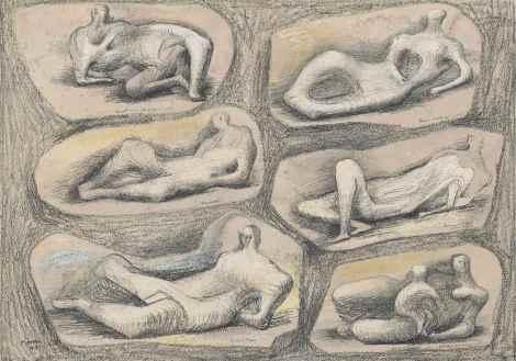 "<span class=""artist""><strong>Henry Moore</strong></span>, <span class=""title""><em>Reclining figures</em>, 1943</span>"