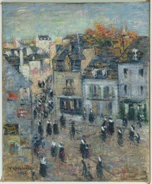 """<span class=""""artist""""><strong>Gustave Loiseau</strong></span>, <span class=""""title""""><em>Pont Aven, Sortie de la messe à sept heures</em>, 1923</span>"""