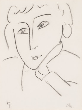 """<span class=""""artist""""><strong>Henri Matisse</strong></span>, <span class=""""title""""><em>Head of a Woman, Leaning on Her Left Hand</em>, 1952</span>"""