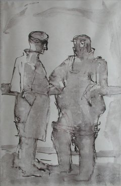 "<span class=""artist""><strong>Josef Herman</strong></span>, <span class=""title""><em>Two fisherman on deck</em>, 1949</span>"
