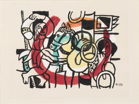 """<span class=""""artist""""><strong>Fernand Leger</strong></span>, <span class=""""title""""><em>Le Jongleur et L'Acrobate</em>, 1953</span>"""