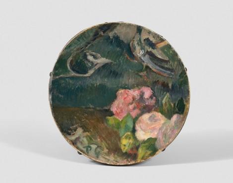 "<span class=""artist""><strong>Paul Gauguin</strong></span>, <span class=""title""><em>Fleurs et oiseau, décor de tambourin</em>, c.1884-1886</span>"