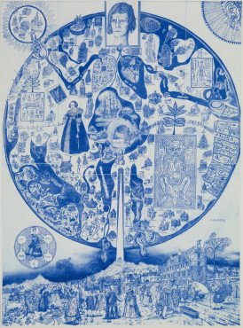 """<span class=""""artist""""><strong>Grayson Perry</strong></span>, <span class=""""title""""><em>Map of Nowhere (blue)</em>, 2008</span>"""