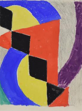 """<span class=""""artist""""><strong>Sonia Delaunay</strong></span>, <span class=""""title""""><em>Rythme Couleur, projet pour un menu 'Alla Colomba'</em>, 1960</span>"""
