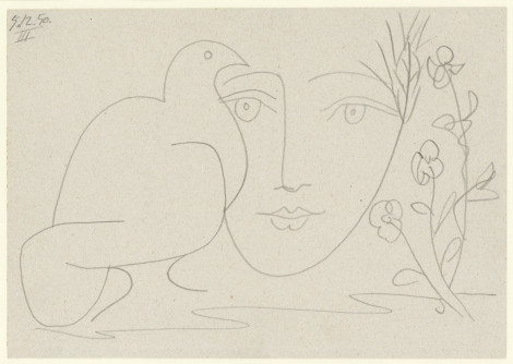 """<span class=""""artist""""><strong>Pablo Picasso</strong></span>, <span class=""""title""""><em>Le visage de la Paix III</em>, 5 December 1950</span>"""