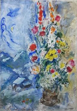 """<span class=""""artist""""><strong>Marc Chagall</strong></span>, <span class=""""title""""><em>Fleurs de Gstaad, la joie de vivre</em>, 1971</span>"""