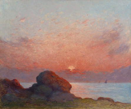 """<span class=""""artist""""><strong>Ferdinand du Puigaudeau</strong></span>, <span class=""""title""""><em>Coucher de soleil sur la mer</em></span>"""