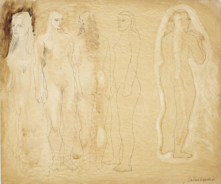 """<span class=""""artist""""><strong>Barbara Hepworth</strong></span>, <span class=""""title""""><em>Group of Figures and Head (Burnt Umber)</em>, 1951</span>"""