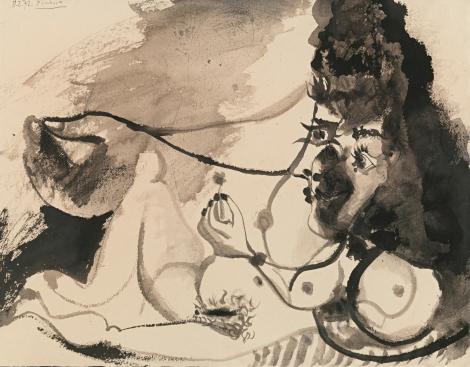 """<span class=""""artist""""><strong>Pablo Picasso</strong></span>, <span class=""""title""""><em>Nu couché tenant une fleur - recto Nu couché, personnage et deux pigeons – verso</em>, 1972</span>"""