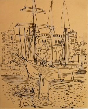 """<span class=""""artist""""><strong>Raoul Dufy</strong></span>, <span class=""""title""""><em>Le port de Marseille</em>, c. 1928</span>"""