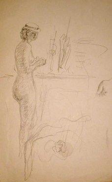 """<span class=""""artist""""><strong>Henri Lebasque</strong></span>, <span class=""""title""""><em>Nu debout au chapeau</em>, 1928</span>"""