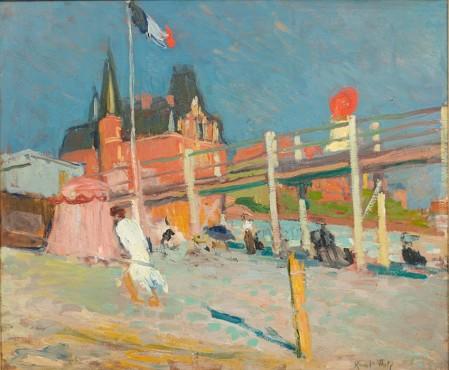 """<span class=""""artist""""><strong>Raoul Dufy</strong></span>, <span class=""""title""""><em>La Plage du Havre</em>, 1906</span>"""