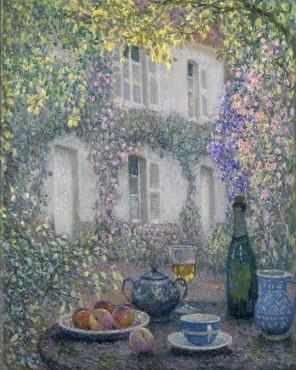 """<span class=""""artist""""><strong>Henri Le Sidaner</strong></span>, <span class=""""title""""><em>La table de la maison fleurie</em>, 1928</span>"""