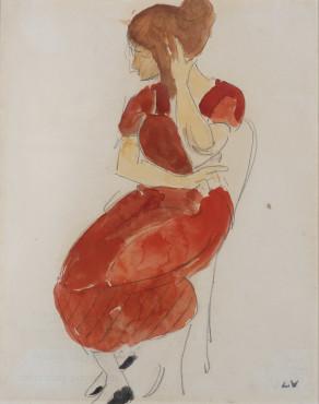 Louis Valtat, Jeune femme en rouge, c. 1916