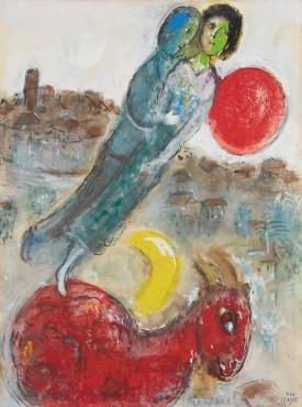 """<span class=""""artist""""><strong>Marc Chagall</strong></span>, <span class=""""title""""><em>Vence ou Les amoureux à l'âne</em>, 1955</span>"""