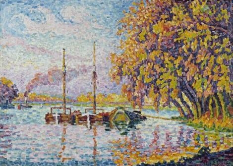 """<span class=""""artist""""><strong>Paul Signac</strong></span>, <span class=""""title""""><em>La seine à Boulogne</em>, 1927</span>"""