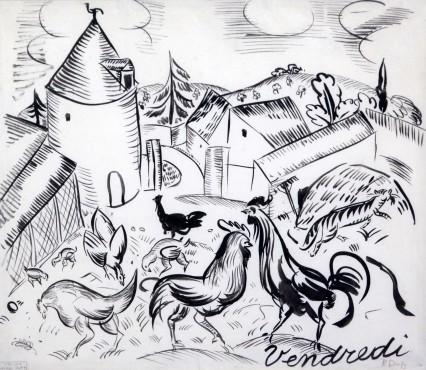 <span class=&#34;artist&#34;><strong>Raoul Dufy</strong></span>, <span class=&#34;title&#34;><em>Cour de ferme, 'Vendredi'</em>, 1910</span>