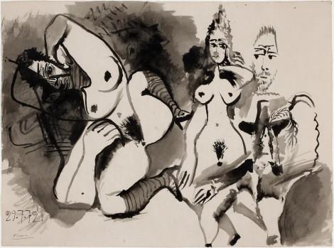 """<span class=""""artist""""><strong>Pablo Picasso</strong></span>, <span class=""""title""""><em>Deux nus et têtes d'hommes</em>, 29 July 1972</span>"""