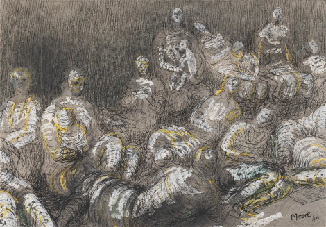 "<span class=""artist""><strong>Henry Moore</strong></span>, <span class=""title""><em>Shelter Drawing: Underground Study</em>, 1940</span>"