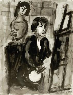 <span class=&#34;artist&#34;><strong>Marc Chagall</strong></span>, <span class=&#34;title&#34;><em>Le Peintre au chevalet</em>, 1948</span>