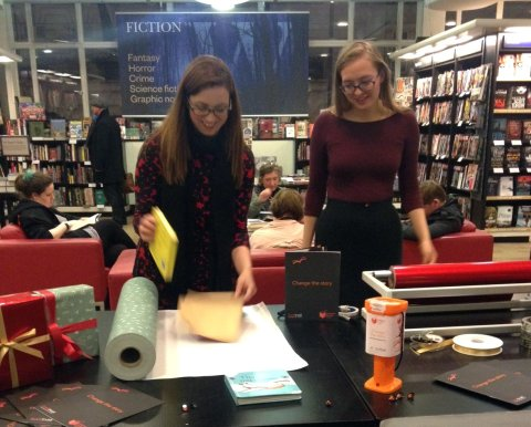 Waterstones Christmas wrapping evening