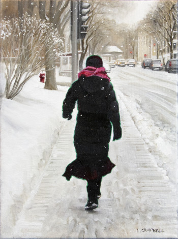 Laurie Campbell, Sherbrooke St. West in Winter (Woman with a Pink Scarf), 2018