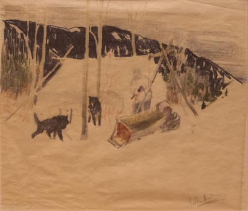 René Richard, C.M., R.C.A., Noël, 1940 (circa) Dry medium on paper - Technique sèche sur papier 8 1/2 x 9 3/4 in 21.6 x 24.8 cm
