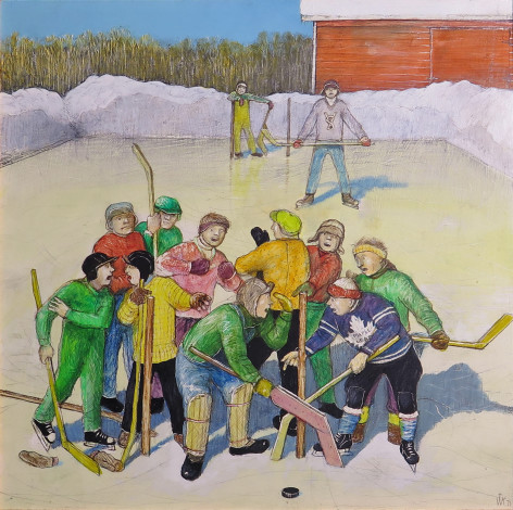 William Kurelek, C.M., R.C.A., O.S.A., Hockey Hassles, 1971 Oil on board - Huile sur carton 5 1/2 x 5 1/2 in 14 x 14 cm