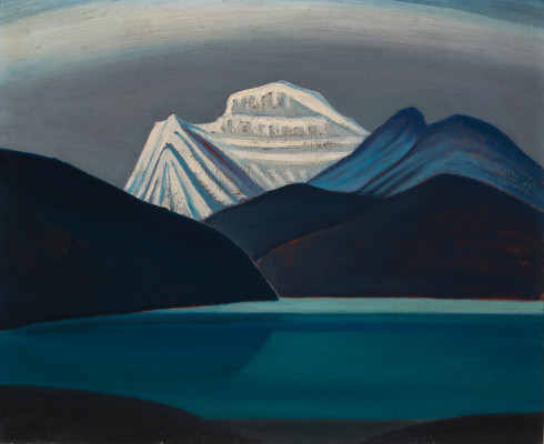 Lawren S. Harris, C.C., LL.D., Mountain Sketch (Lake and Mountain) , 1928 (circa) Oil on Beaverboard - Huile sur Beaverboard 11 x 14 in 27.9 x 35.6 cm