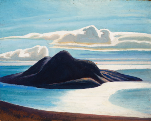 Lawren S. Harris, C.C., LL.D., Pic Island Lake Superior, 1926 Oil on Beaverboard - Huile sur Beaverboard 12 x 15 in 30.5 x 38.1 cm