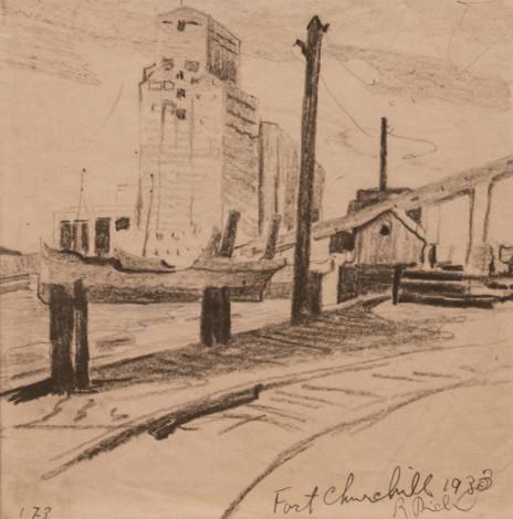 René Richard, C.M., R.C.A., Fort Churchill. La fin du voyage, 1933 Dry medium on paper - Technique sèche sur papier 7 1/4 x 7 1/4 in 18.4 x 18.4 cm