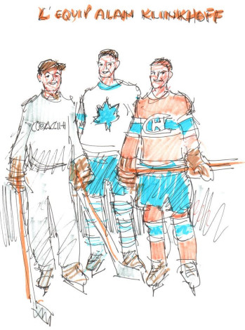John Little, R.C.A., Portrait of Alan, Jonathan & Craig Klinkhoff, 2014 Drawing - Dessin