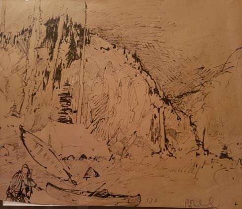 René Richard, C.M., R.C.A., Campement (les deux canots), 1931 (circa) Ink on paper - Encre sur papier  9 x 10 3/4 in 22.9 x 27.1 cm