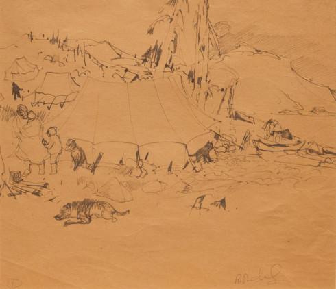 René Richard, C.M., R.C.A., Campement Indien, 1931 (circa) Ink on paper - Encre sur papier  11 1/2 x 13 1/2 in 29.2 x 34.3 cm