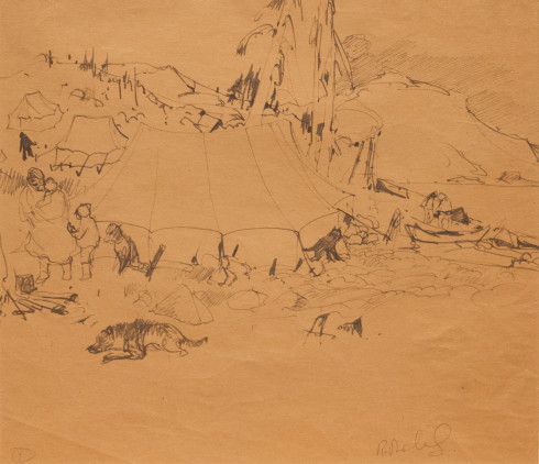 René Richard, C.M., R.C.A., Campement Indien, 1931 (circa) Ink on paper - Encre sur papier  11 1/2 x 13 1/2 in 29.2 x 34.3 cm