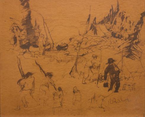 René Richard, C.M., R.C.A., Étude de campement, 1951 Ink pen on Beaverboard - Dessin au crayon sur aggloméré 9 3/4 x 12 in 24.8 x 30.5 cm