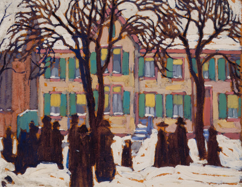 Lawren S. Harris, C.C., LL.D., Return from Church, 1919 Oil on Beaverboard - Huile sur Beaverboard 10 x 13 in 25.4 x 33 cm