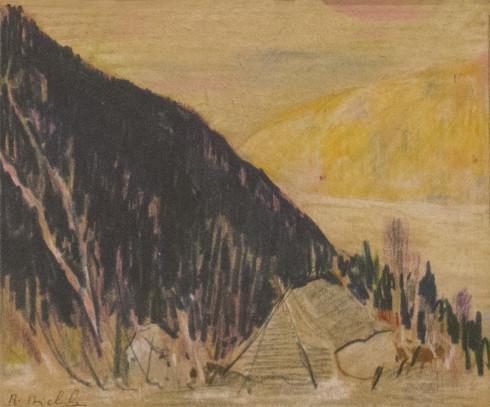 René Richard, C.M., R.C.A., Campement (N.W.T.), 1940 (circa) Pencil crayons on paper - Crayons de couleurs sur papier 5 x 6 in 12.7 x 15.2 cm