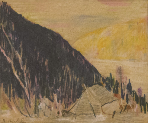 René Richard, C.M., R.C.A., Campement (N.W.T.), 1940 (circa) Pencil crayons on paper - Crayons de couleurs sur papier 5 x 6 in 12.7 x 15.2 cm