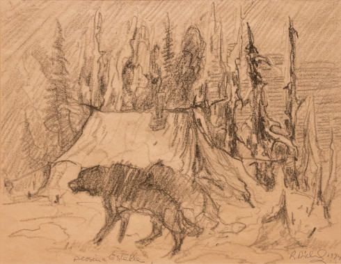 René Richard, C.M., R.C.A., Campement avec chiens, 1974 Graphite on paper - Crayon sur papier 10 x 12 in 25.4 x 30.5 cm