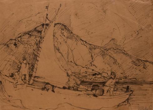 René Richard, C.M., R.C.A., La goélette. Fjord Adluylik, Ungava, 1951 (circa) Liquid medium on paper (probably ink) - Technique humide sur papier (probablement de l'encre) 10 1/2 x 14 in 26.7 x 35.6 cm