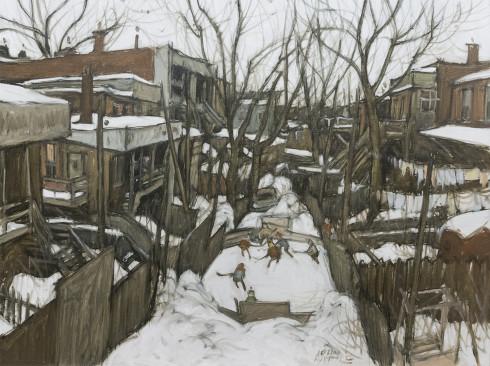 John Little, R.C.A., Patinoire - Lane behind Rue de Bullion, 1989