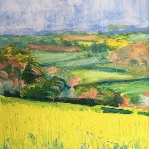 Celia Montague - Rapeseed in Flower above Charlbury (Hungerford Gallery)
