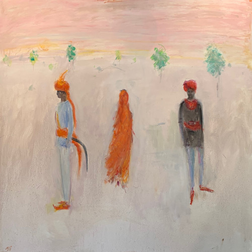 Ann Shrager - Two Men and a Lady in an Orange Sari (Hungerford Gallery)