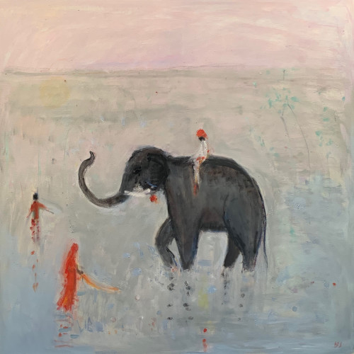 Ann Shrager - Young Boy on an Elephant (Hungerford Gallery)