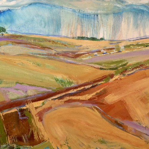 Emma Haggas - Spring Rain on Chute Causeway (Hungerford Gallery)