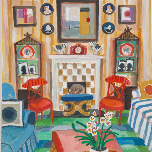 Lottie Cole - Interior with Pair of Owls and a Pansy Orchid (London Gallery)